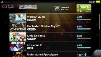 Скриншоты интерфейса PS Vita
