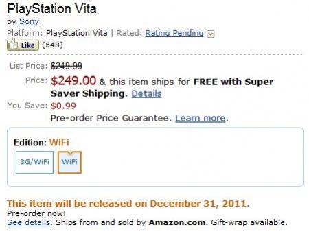 Американский Amazon открыл предзаказ на PS Vita